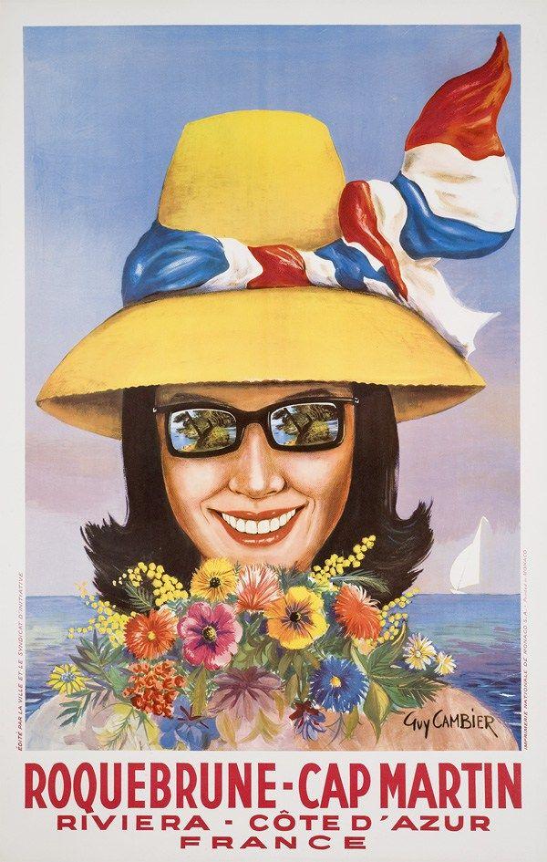 Roquebrune Cap Martin / Riviera Côte d'Azur manifesto #travel #poster #vintage estate fiori