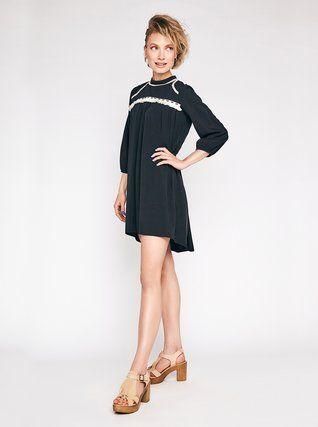 Alchymi - Černé šaty s krémovými detaily  Morion - 1