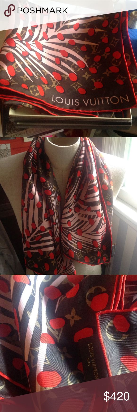 Louis Vuitton Jungle Print Large Scarf Worn once! Louis Vuitton Jungle Print Monogram Scarf in Large from 2016 Collection. Made in Italy. Can be worn a variety of ways. Comes with Original LV Box. Louis Vuitton Accessories Scarves & Wraps