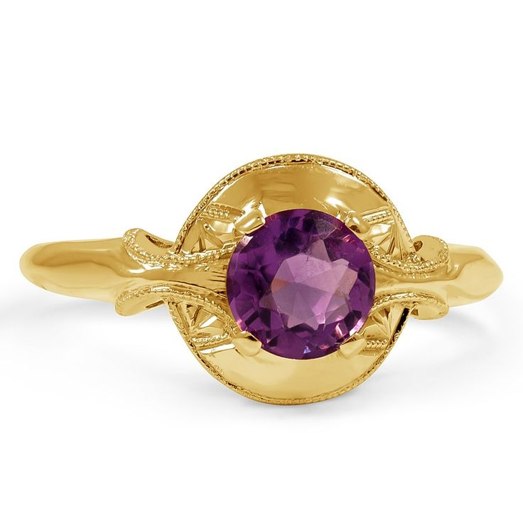 A gorgeous amethyst is prong-set atop a circular platform in this distinctive Art Nouveau ring.