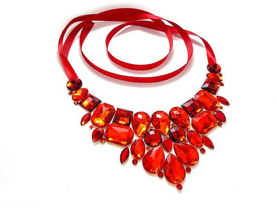 Red Bib Necklace, Statement Necklace, Red Rhinestone Necklace, Sparkly, Jeweled Bib, Bridesmaid Necklace