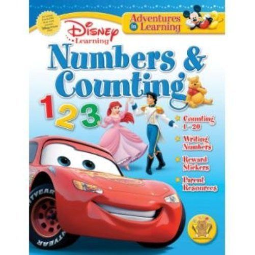 Numbers & Counting 1-20 Workbook Pre-K Kindergarten Disney Pixar Movies Stickers #BendonPublishing