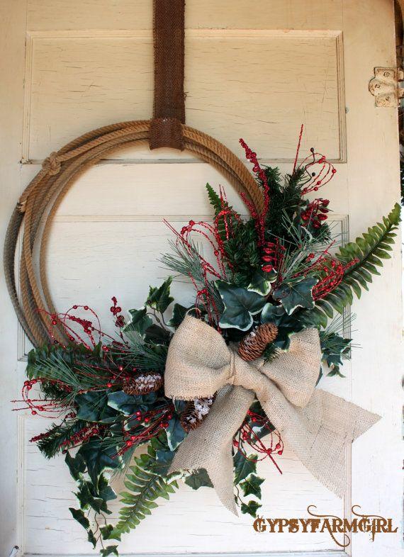 Western Lariat Rope Christmas Wreath with Burlap by GypsyFarmGirl
