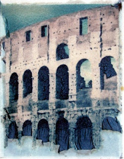 Day 5 architecture, Polaroid emulsion transfer of Colosseum in Rome © Stacey Merrill