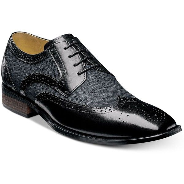 Stacy Adams Men's Kemper Wingtip Oxfords (£68) ❤ liked on Polyvore featuring men's fashion, men's shoes, men's oxfords, black multi, mens black wingtip shoes, stacy adams mens shoes, mens wingtip shoes, mens shoes and mens black oxford shoes