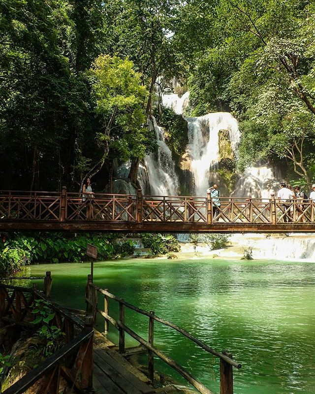 Kuang Si Falls, Laos Day 58: NOT IN THE GUIDE BOOK Get here at opening. Hire a tuk tuk for the day and spend all day here. Don't do a tour, it's not enough time. Pack a picnic lunch too and enjoy the beauty of this place! #travelintoliving - destination advice to plan your trips! @laospictures