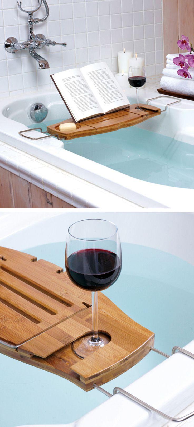 Bath Caddy with Wine Glass Holder // L.O.V.E.