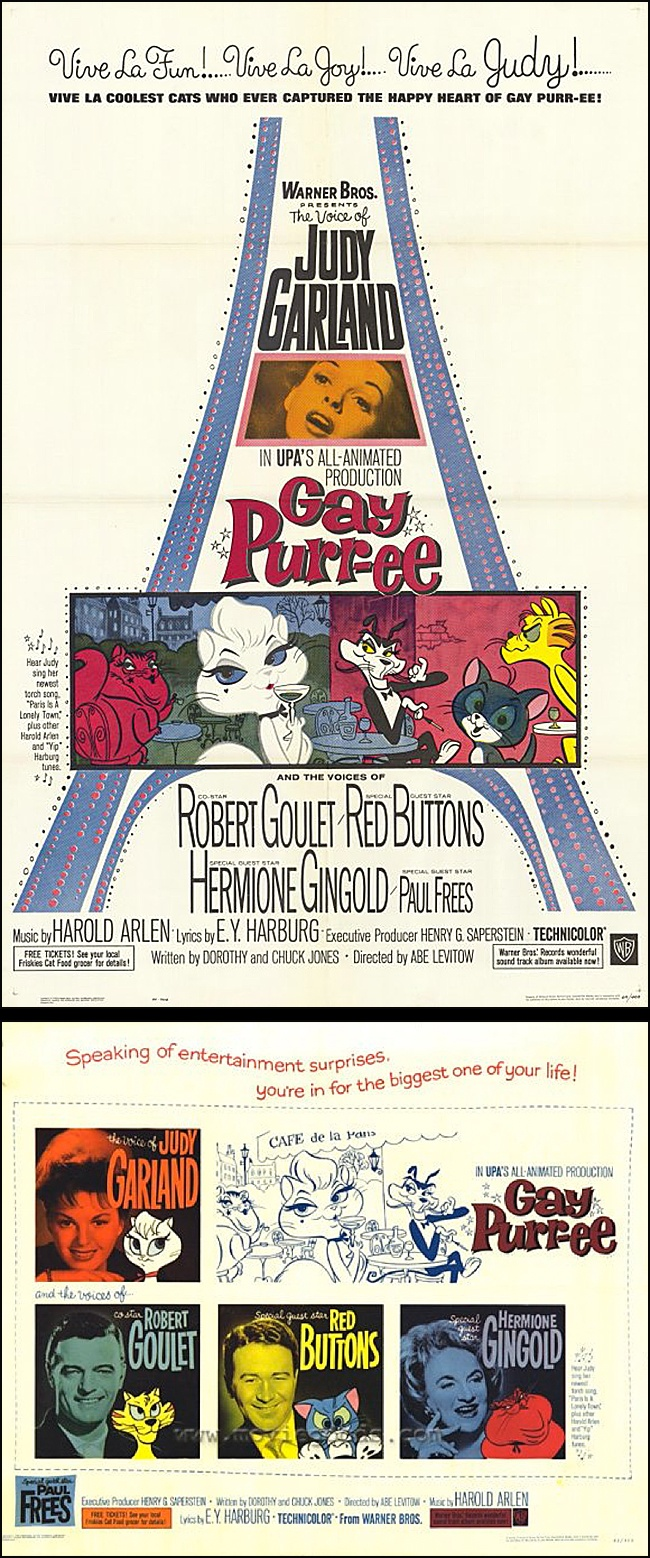Gay Purr-ee (1962) starring the voices of Judy Garland, Robert Goulet, Red Buttons & Hermione Gingold