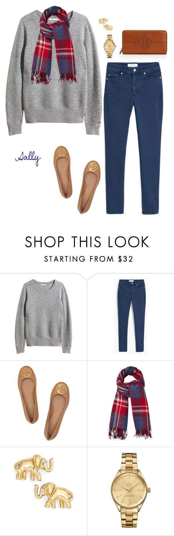 """A Cool Day"" by sc-prep-girl ❤ liked on Polyvore featuring H&M, MANGO, Tory Burch, Phase Eight, Kate Spade and Lacoste"