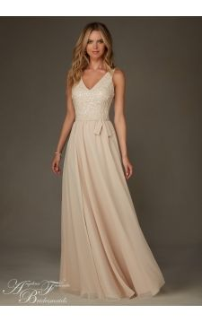 Mori Lee Bridesmaids Dress 20472 Chiffon With Beading