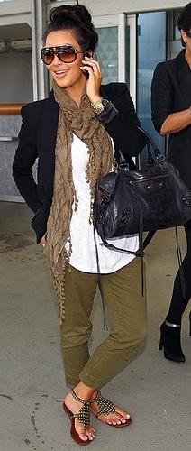 green skinny pants, white tee, gladiator sandals, black blazer, brown scarf