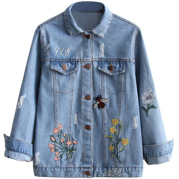 Embroidered Ripped Denim Jacket ($30) ❤ liked on Polyvore featuring outerwear, jackets, distressed jean jacket, blue jean jacket, jean jacket, embroidered jean jacket and embroidery jackets