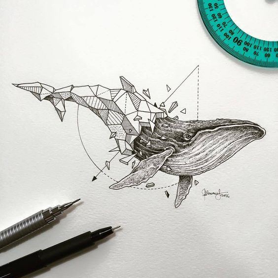 Lovely Half-Geometrical Drawings of Wild Animals  Filipino illustrator Kerby Rosanes unveils a new graphic project in black and white titled Geometric Beasts, that highlights animals whose body is only composed of geometrical shapes that fit into each other. Drawn on paper with ink, those wild beasts coming straight from a sci-fi story. Tigers, wolves and orcas stand alongside polar bears and whales in a blend of realism, geometrical forms and accurate outlines.: