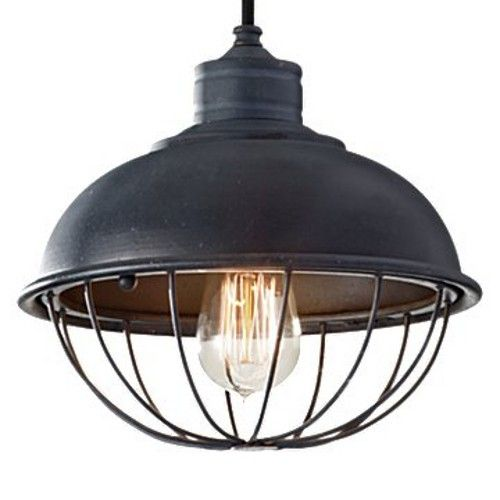Pendant with Antique Forged Iron Finish. Bulbs: 1 - medium A-21 100w Max. 120v - (Not included). Body (Steel). Listed for Damp Locations.