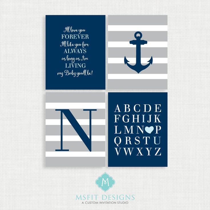 Baby Boy Nursery Art - Nautical Nursery Decor - Nautical Nursery Print -Nautical Nursery Art - Navy White Gray by MsfitDesigns on Etsy