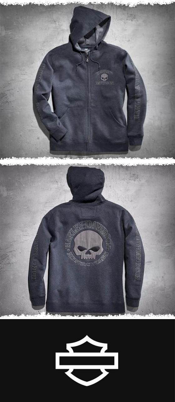 Wear it confidently with anything, anywhere. |  Harley-Davidson Men's Hooded Skull Sweatshirt