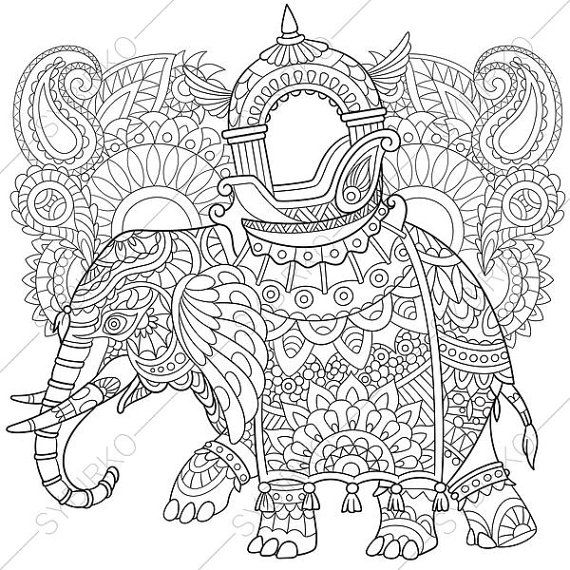 zentangle stylized cartoon elephant with paisley and mehndi symbols sketch for adult antistress coloring page hand drawn doodle zentangle floral design - Coloring Page Elephant Design