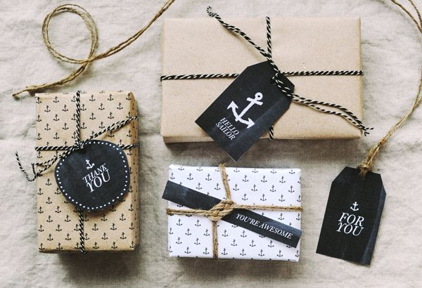 anchor gift tags and wrapping paper - great for care packages