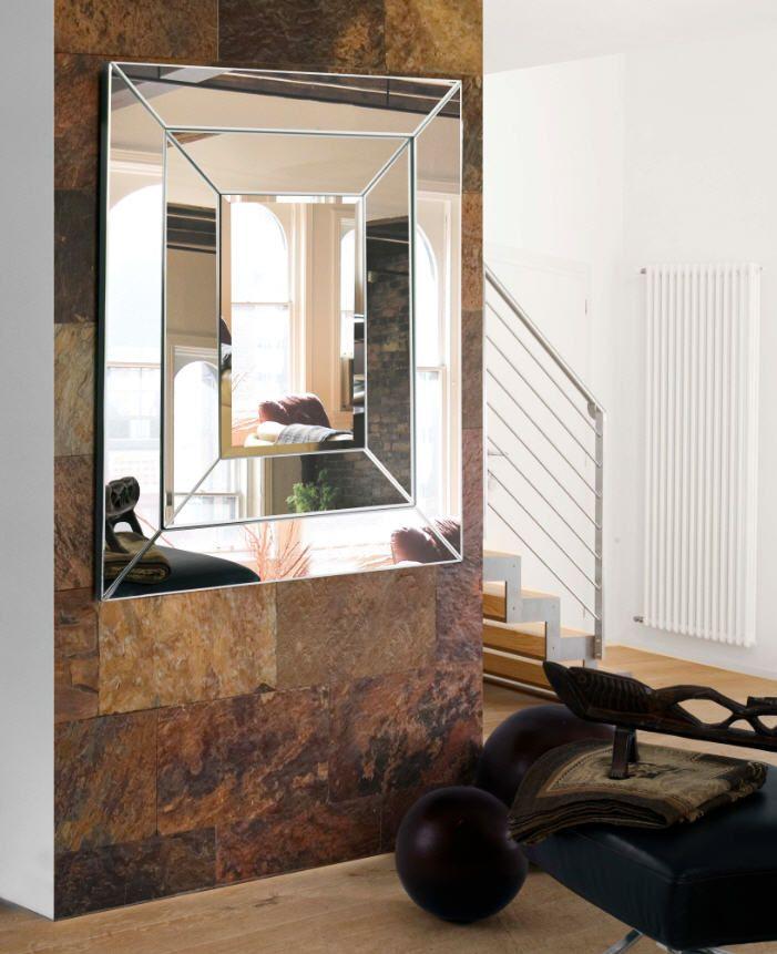espejo decorativo realizado con cristal y espejos biselados con doble marco de cristal luna central