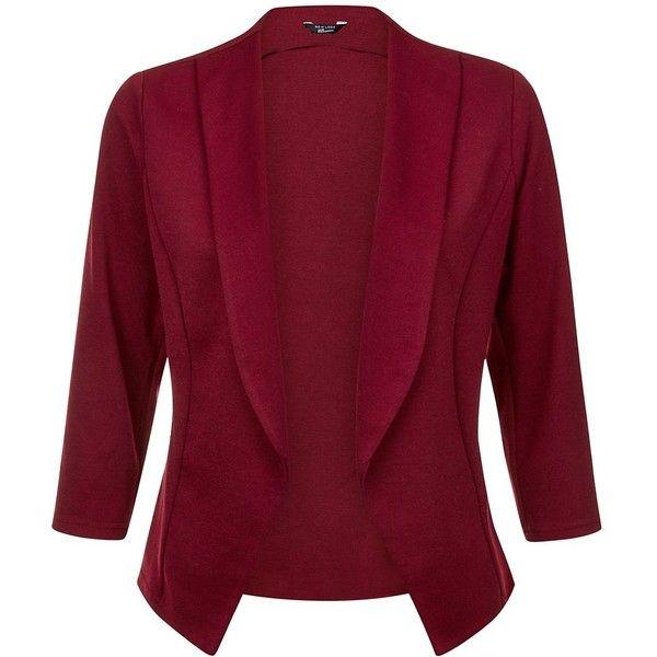Teens Burgundy Blazer (330 ZAR) ❤ liked on Polyvore featuring outerwear, jackets, blazers, slim jacket, slim fit jacket, red slim fit blazer, open front jacket and burgundy jacket