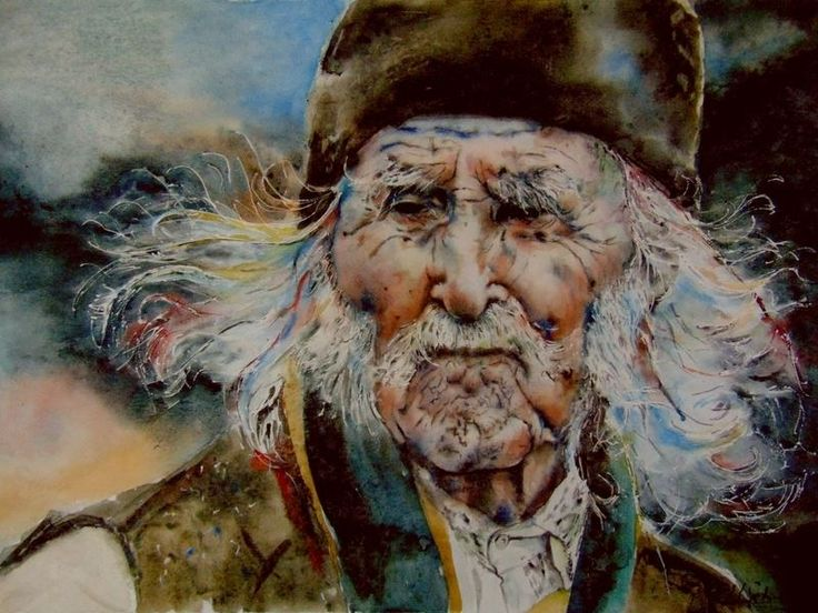 Romanian old man, watercolor