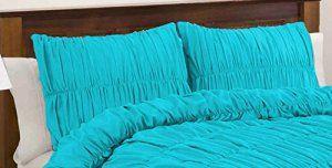 SCALABEDDING 100% coton égyptien 300 fils/cm²-Tissu ruché Shams recueillies petit oreiller carrée-Turquoise