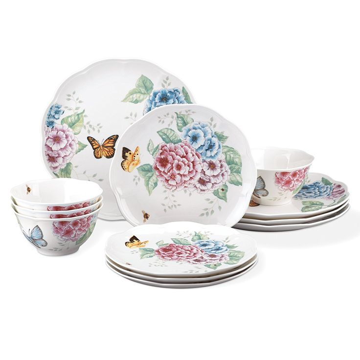 "Lenox 12 Piece Butterfly Meadow Created of porcelain   Microwave safe   Dishwasher Safe   supper plate measures 10.75 inches, serving of mixed greens plate measures 9"" and bowl has a limit of 16 ounces  Set incorporates 4 supper plates, 4 serving of mixed greens plates and 4 bowls You can look here and buy."