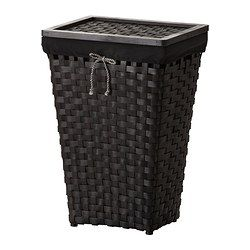 KNARRA Laundry basket with lining, black, brown - IKEA