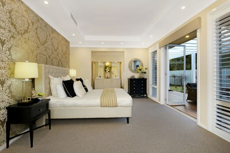 A beautiful #Hamptons inspired Master Suite from our Bronte Executive Grande Manor One on display in Braemar. For details see http://mcdonaldjoneshomes.com.au/display-home-locations/braemar #interiorstyle #interiordesign #style #mastersuite #bedroom #bed #wallpaper #patio #doors #wall #carpet #bedsidetables #design #interiordesign #hamptonsstyle #Hampton #inspiration #inspo #style #styling #design #décor #decorate