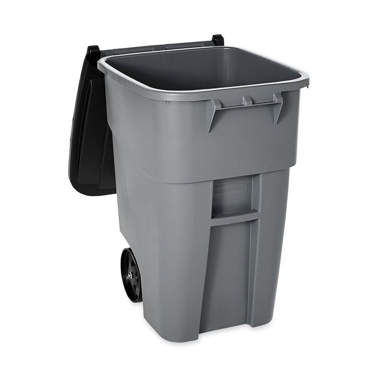 Large Trash Can Bin Garbage Container Wheeled 50 Gallon Durable Plastic Lid Gray #CommercialTrashCans