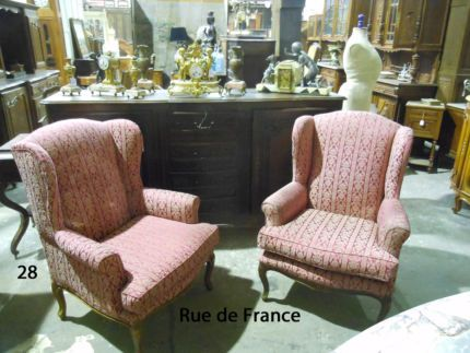 FRENCH BERGERE CARVED OAK WING BACK PARLOR ARM CHAIRS
