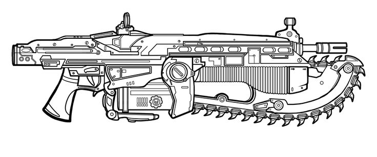Gears of War - Lancer lineart by Saillestraif