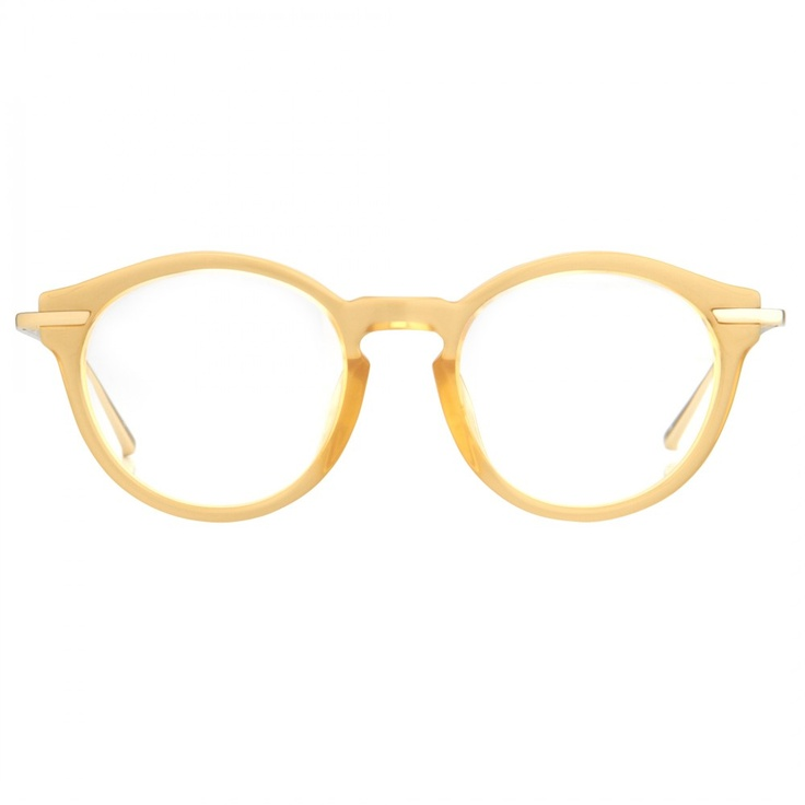 """Linda Farrow Luxe 231 - Optical - Apricot colored """"Wrap-Around"""" style round acetate glasses, with slim titanium temples. Featuring round shaped lenses, acetate ridges with a """"Key-Hole"""" bridge and top frame attached temples are swept back with the 'folded' shiny 22 carat gold plated titanium temples that overlap onto the face."""
