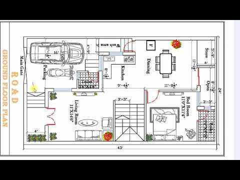 24x43 Ft Best House Plan Drawing Youtube 20x40 House Plans House Plans How To Plan