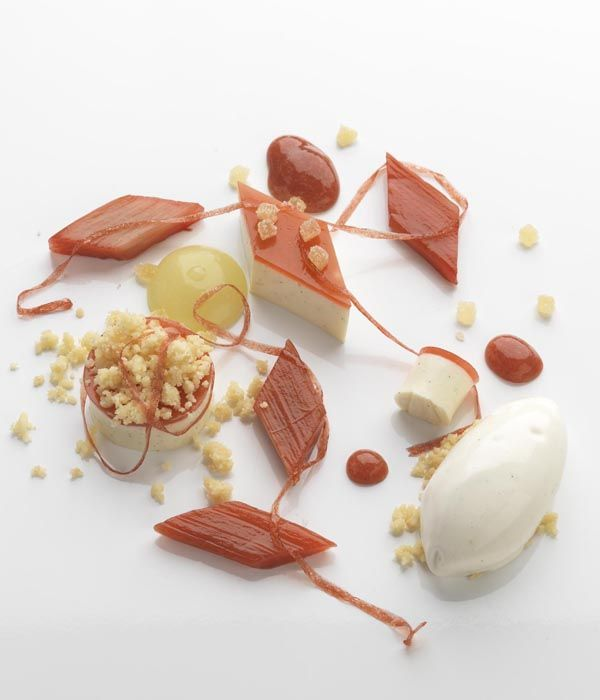 A panna cotta provides a lovely creamy background to any dessert. Here it is paired with a classic combination of rhubarb and ginger. - Daniel Clifford