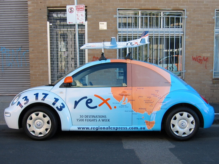 The map on this car wrap looks great with an airplane mounted on top! | 3D Branding