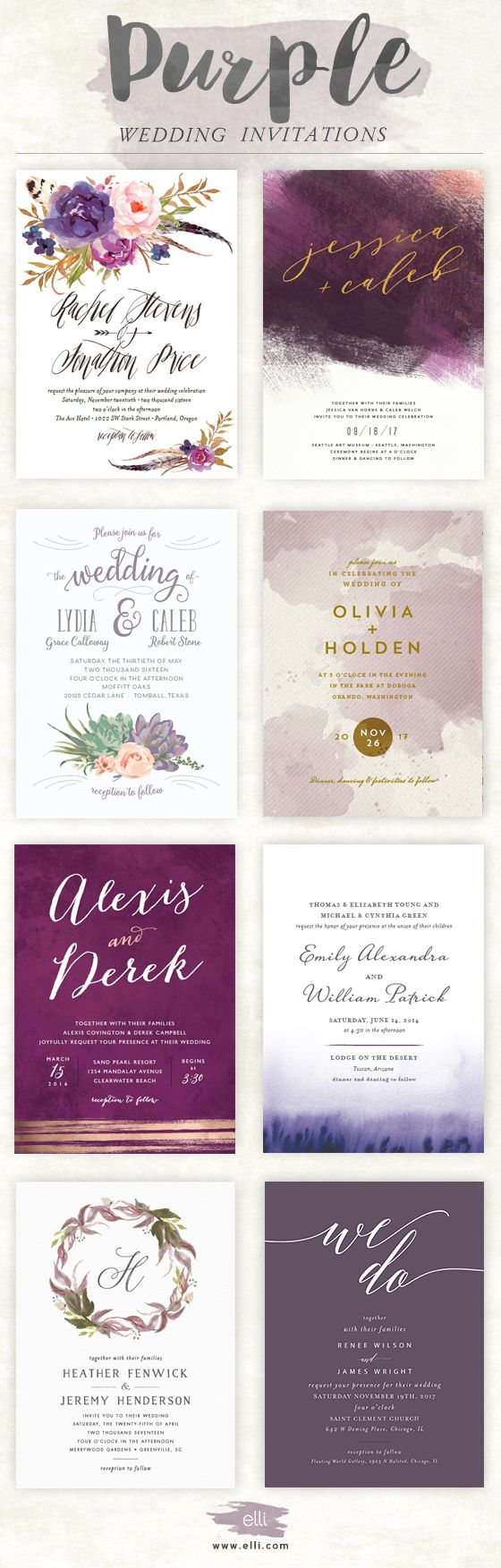 sample wedding invitation letter for uk visa%0A Gorgeous wedding invitations in shades of purple at Elli com   weddinginvitation