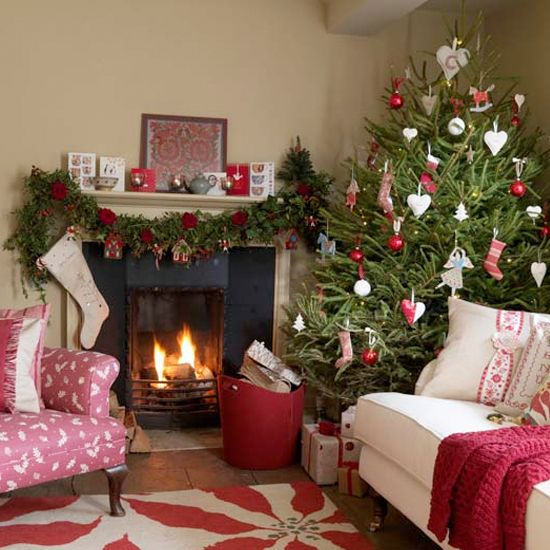 55 Wonderful Christmas Living Room Décor Ideas Dreamy With Brown Wall And White Red Sofa Table Fireplac