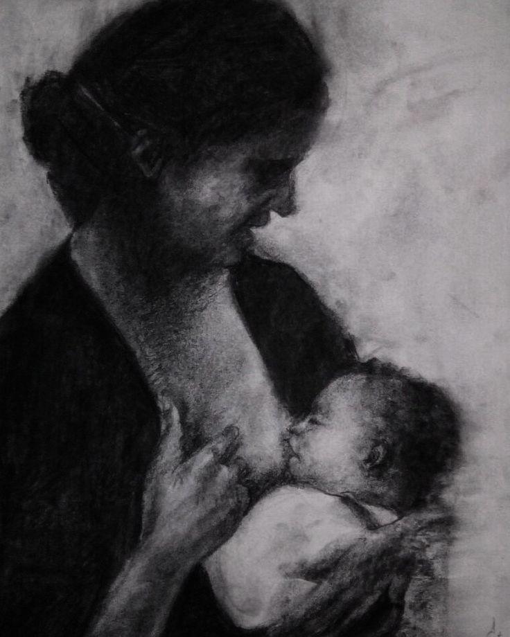 Maternidad gitana. Carbón sobre papel 50x30 cm. 2016