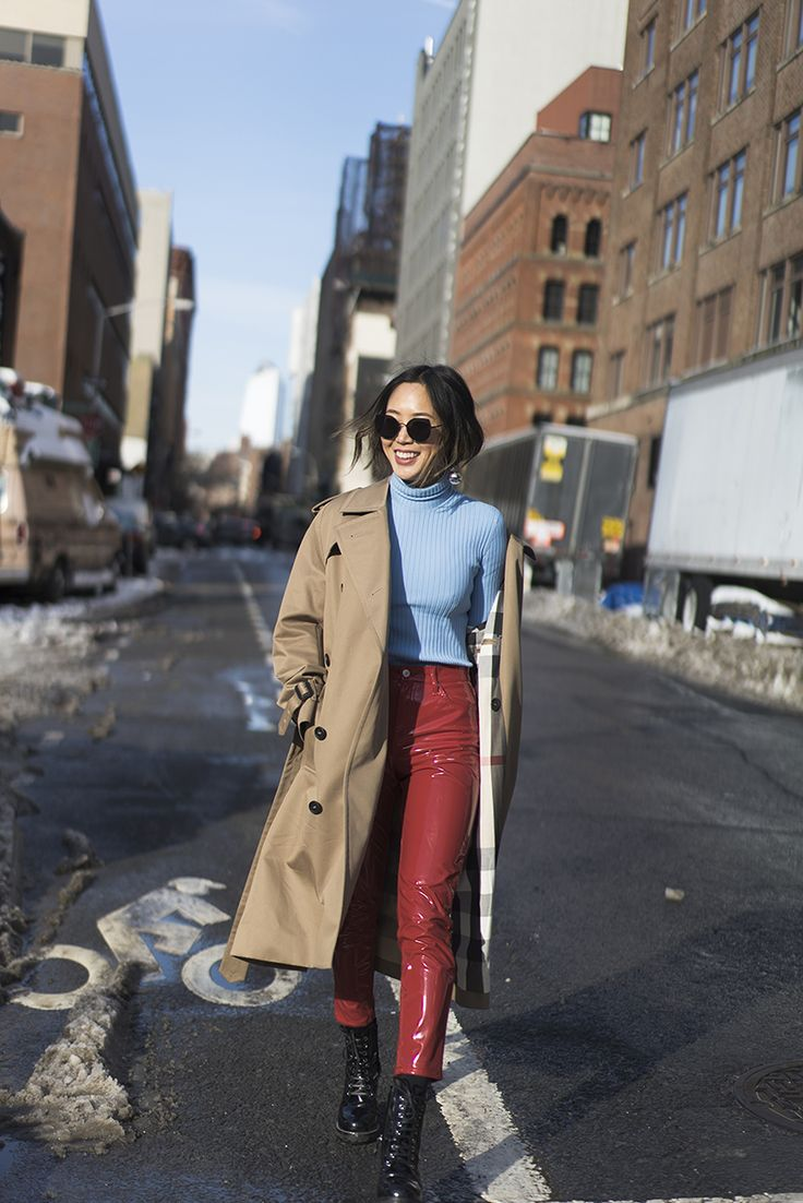 Aimee Song of the blog Song of Style shares her outfit from day 2 of New York Fashion Week Autumn/Winter 2017 wearing patent leather pants.