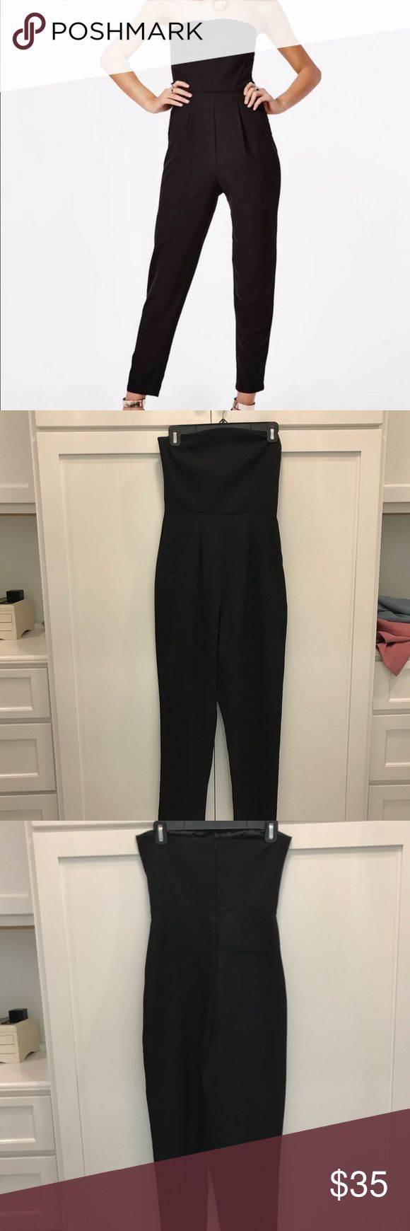 Missguided Black Strapless Jumpsuit Flattering black jumpsuit. Worn one time. Missguided Other