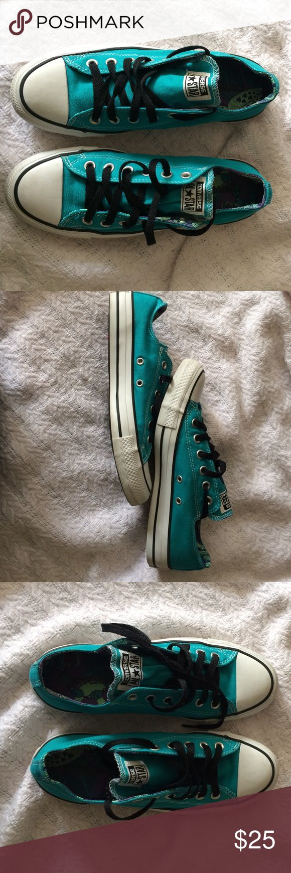 Teal/Bright Blue Converse Teal converse; black laces; patterned interior Converse Shoes Sneakers
