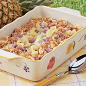 Pineapple Ham Casserole.  I added dry mustard like a reviewer suggested and went a little heavy on the worcestershire.  I used low fat cream cheese and it turned out fine.  If you don't like ham and pineapple pizza or you don't like the cheeseball with pineapple in it you probably won't like this, but if you are a fan of that type of thing you will enjoy.  jrb