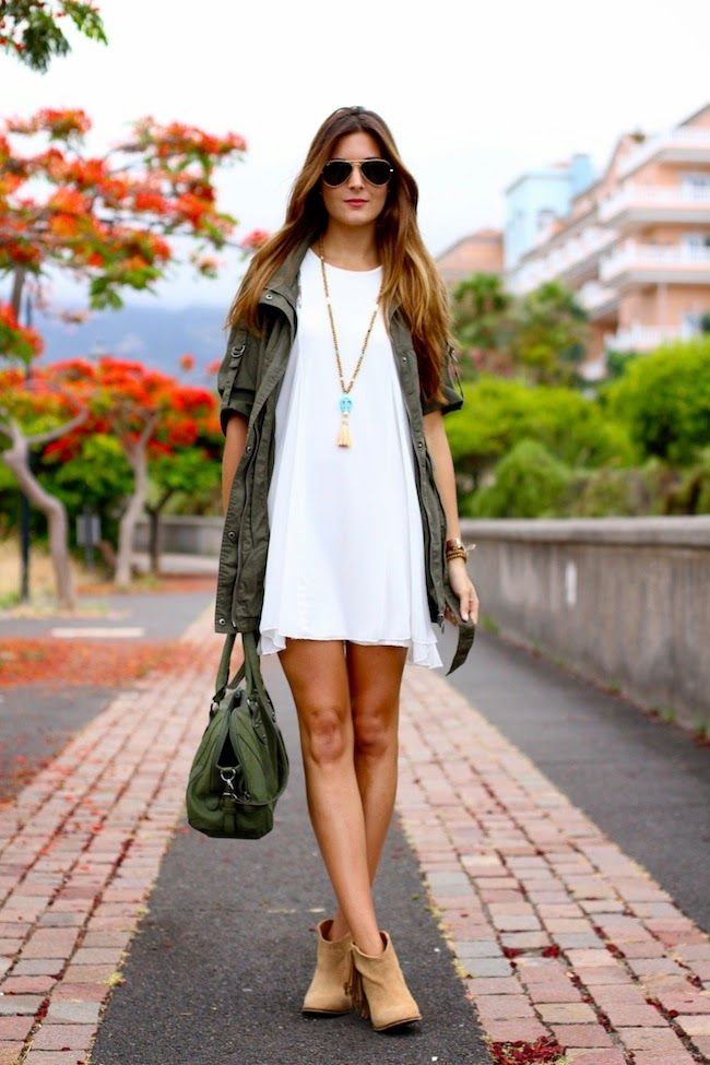Would love the amerik jacket so I can pair it with cute dresses like this and ankle boots. LOVE this look!
