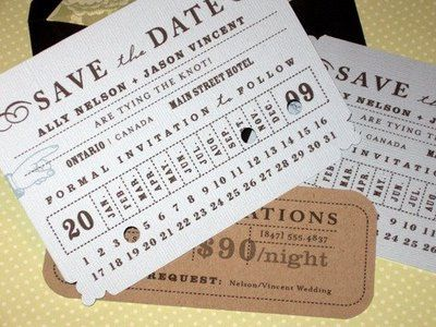 I have been kicking around the idea of a 1920s speakeasy theme for my cocktail hour and I think these are cool and go with that theme a little bit.  I would have to theme my entire wedding that way for these save the dates to work right, but they are cool and creative.