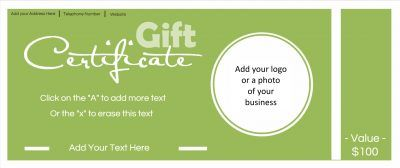 Gift Certificate Template. All text can be customized. A business logo and photo can be added. Free for commercial use for your business. Instant download.