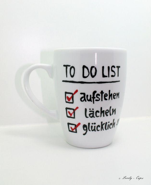 Becher & Tassen - Geschenk Tasse, Tasse bemalt,Geschenk Kollegin - ein Designerstück von Lovely-Cups bei DaWanda
