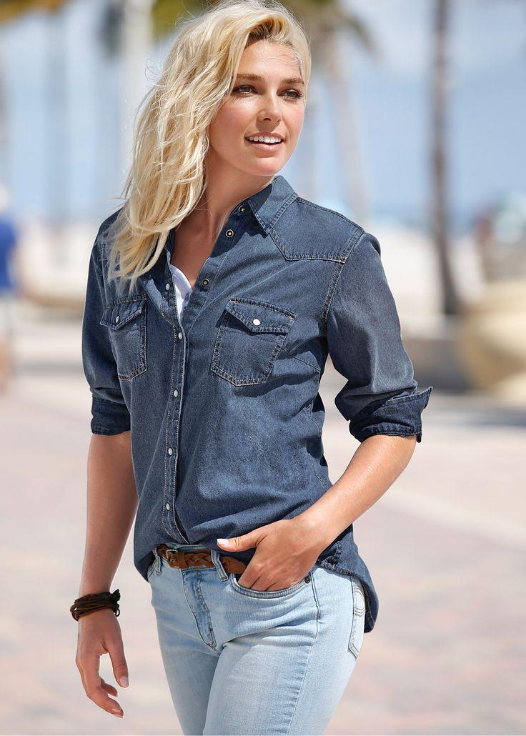Camisa jeans manga longa azul escuro estonado encomendar agora na loja on-line bonprix.de  R$ 99,90 a partir de Clássica, despojada e totalmente na moda, é ...