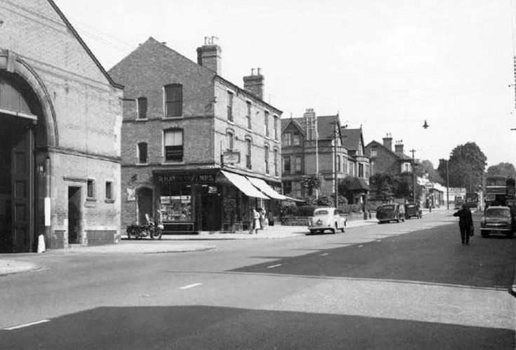 Mansfield Road, Sherwood, Nottingham, 1951.  From the left; Sherwood Bus Depot (ex tram depot); Ralph Harwood, Chemist; Mrs. E. M. Slater, draper; Nottingham Laundry Co. Ltd.
