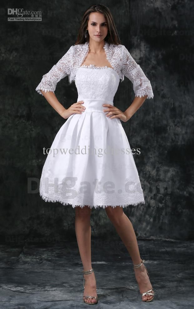 Wholesale cheap wedding veils online, short/Mini - Find best short beach wedding dresses A line strapless neckline appliques flowers With A jacket knee length bridal dresses real image z1513 at discount prices from Chinese a-Line wedding dresses supplier on DHgate.com.